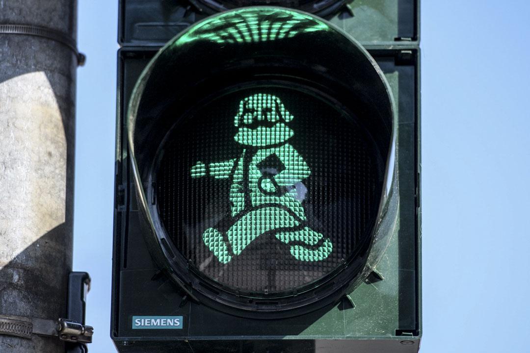 在馬克思的故鄉德國特里爾(Trier),當地政府為紀念馬克思而裝設的馬克思紅綠燈。