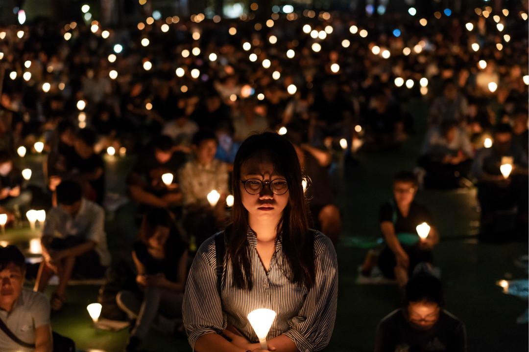 2018年6月4日,香港維園,民眾舉行燭光集會,悼念「六四」事件的死難者。 攝:Anthony Kwan/Getty Images