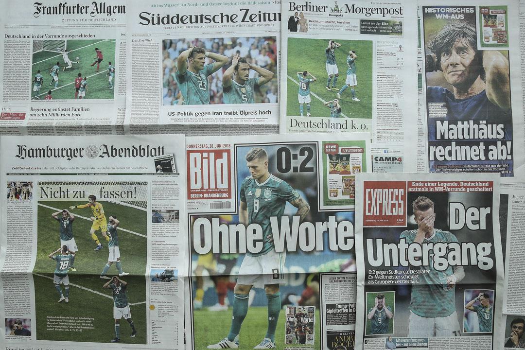 衞冕冠軍德國在分組賽後被淘汰出局後,德國國內報章的報導。