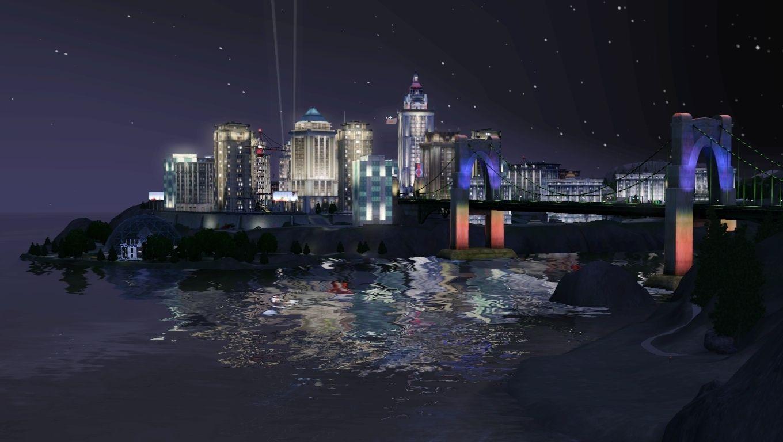 作為模擬世界中唯一一個高樓林立的現代都市,橋港市最美的時候是夜幕降臨,華燈初上的時候。