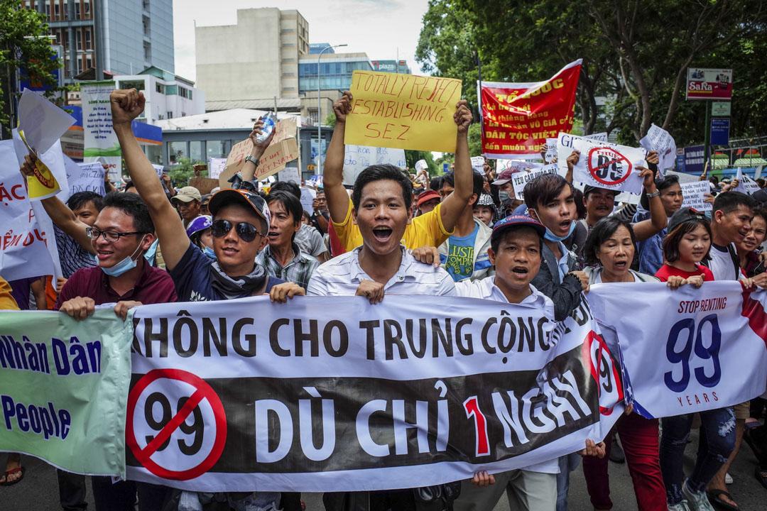 2018年6月10日,包括胡志明市在內的越南等多個城市,連續發生多宗反華示威,反對越南經濟特區,容許外商租借土地長達99年的法案。 攝:Kao Nguyen/AFP/Getty Images