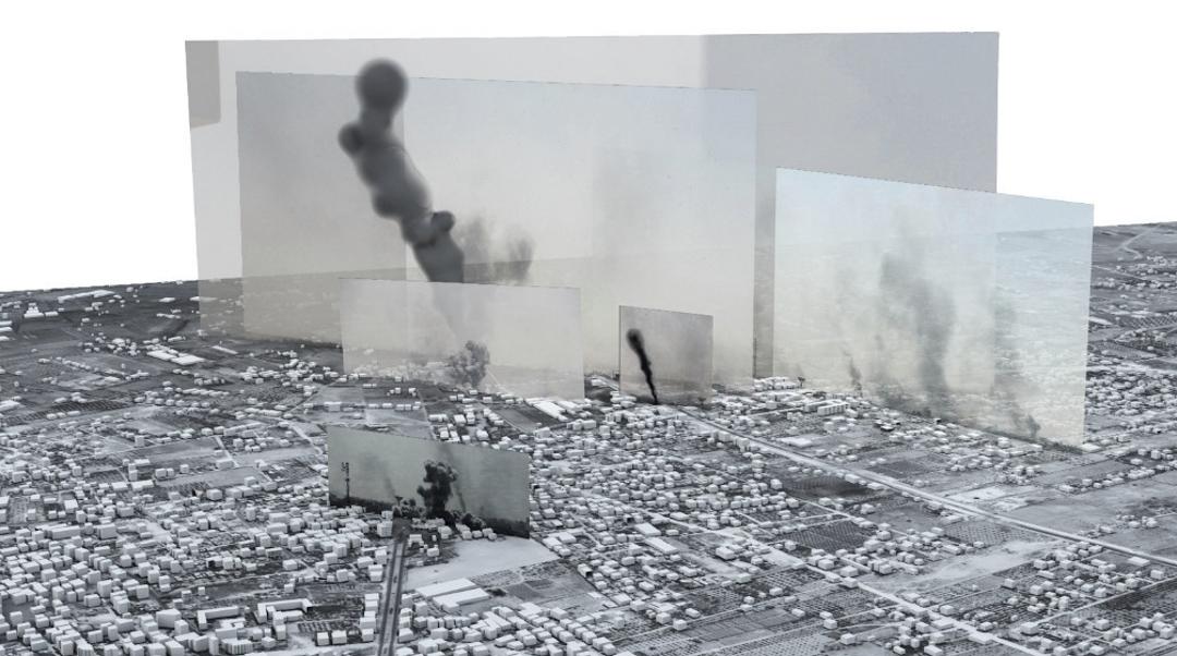 Forensic Architecture創辦人Eyal Weizman與一班建築師、工程人員、設計師和藝術家跨界合作,組成一隊出色的團隊,主力調查當代戰亂之地,透過數碼攝影測量技術,分析不同照片、短片拍攝的時間及位置,重組災難現場,為檢控戰爭罪犯提供有力証據。 圖片來源:Forensic Architecture