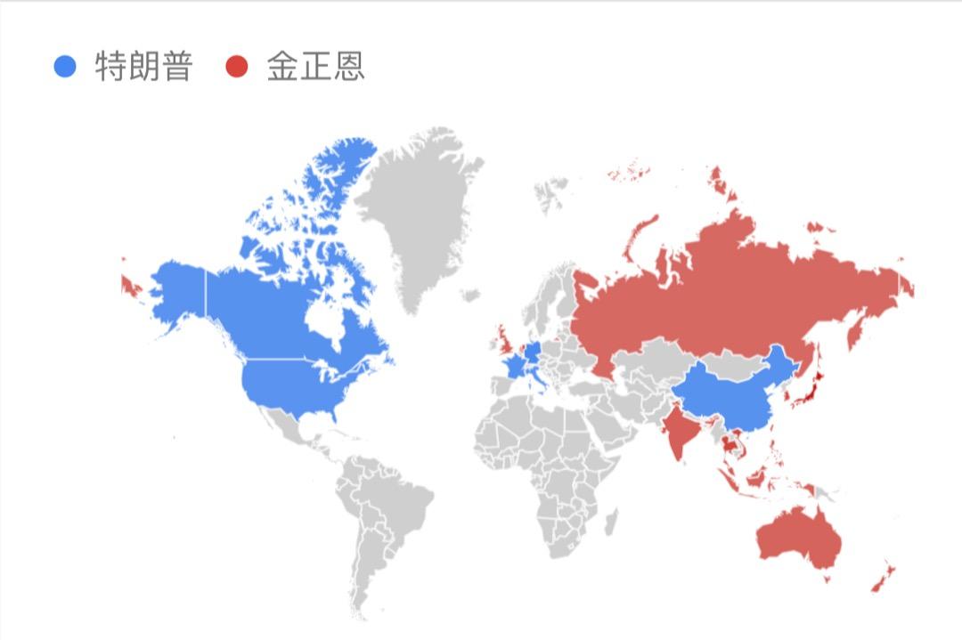 透過 Google Trends 搜索關鍵詞「特朗普」與「金正恩」的全球搜索數據,搜索「特朗普」較多的區域顯示為藍色,反之是紅色,缺失數據或不顯著的區域為灰色;顏色深淺代表搜索量佔比高低。