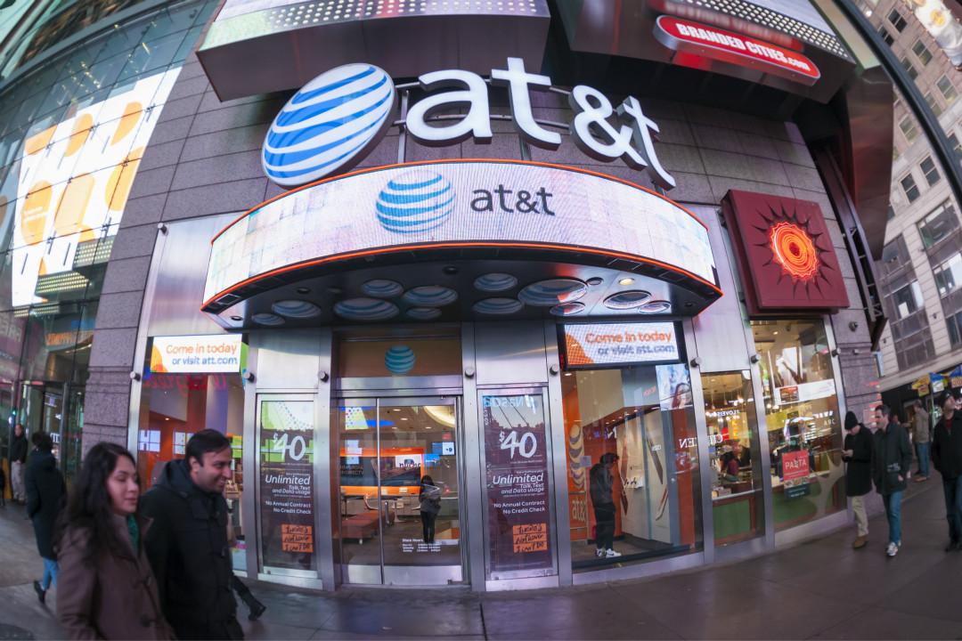 AT&T 在紐約時報廣場的門店。 攝:Richard Levine/Getty Images