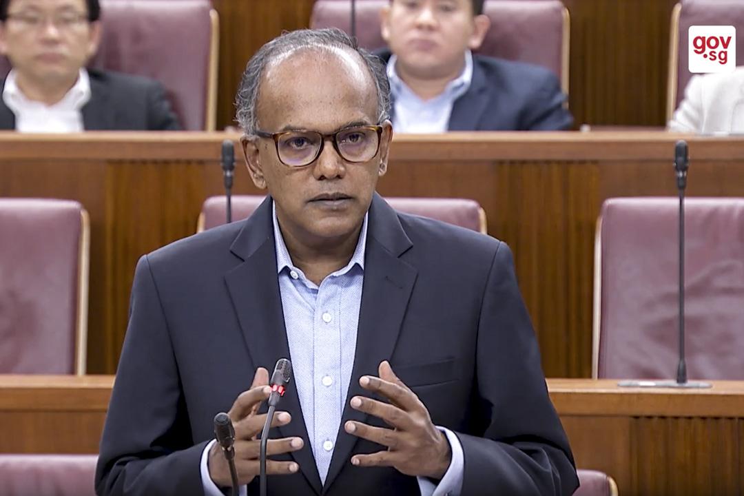 新加坡律政兼內政部長尚穆根(K Shanmugam)在新加坡的「反假新聞法」聽證會。