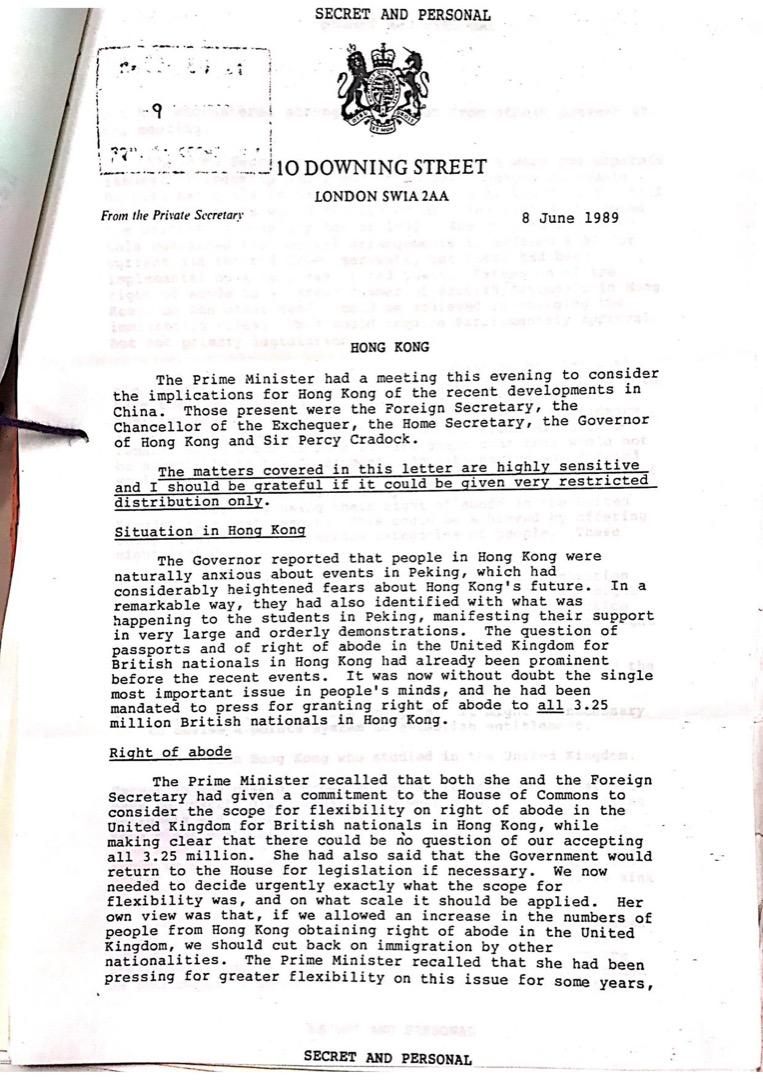 「香港前途計劃」成員近日從六四檔案中發現的第一手史料,是1989年6月8日,時任英國首相戴卓爾夫人曾與時任港督衛奕信進行內部對話,提及香港民主化進程要加速的問題。
