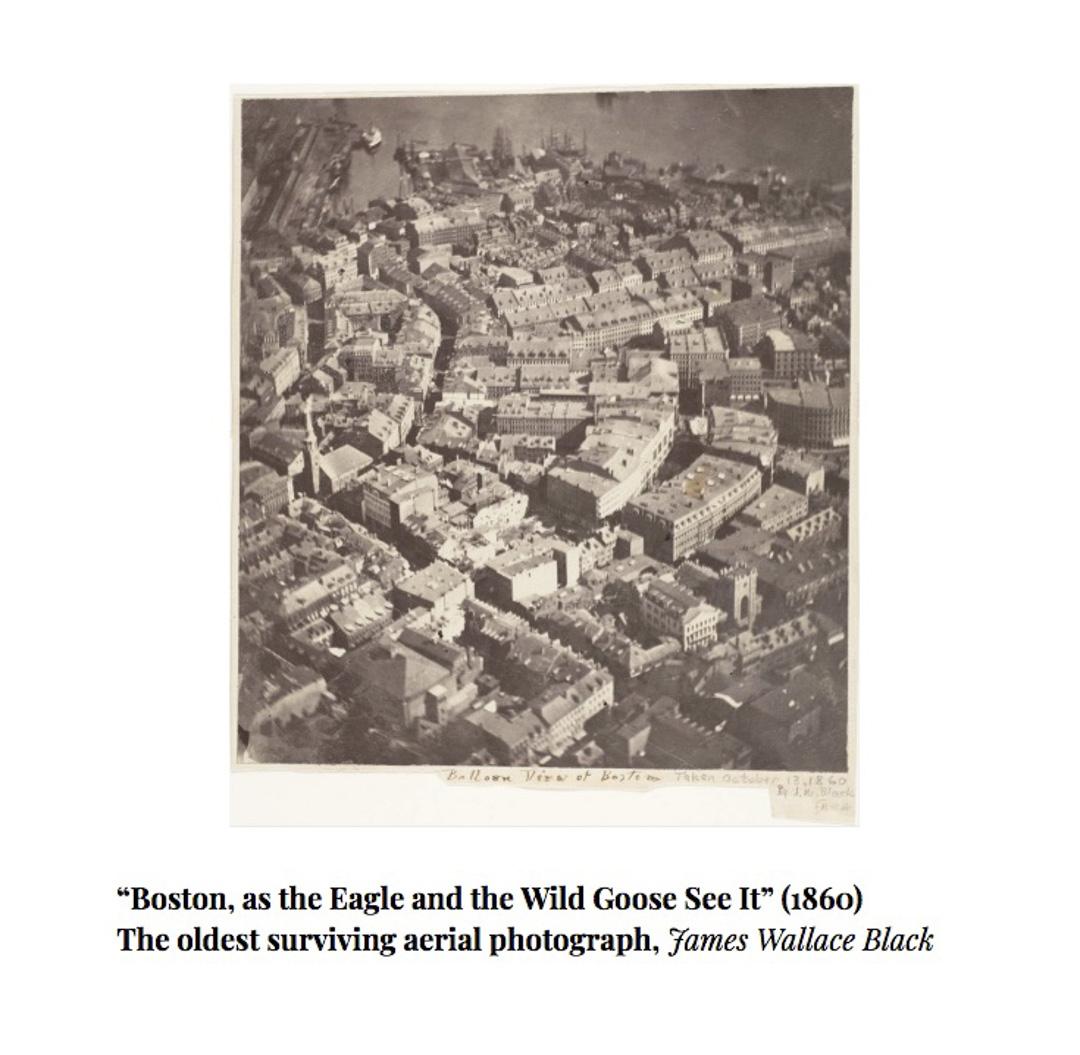 歷史最悠久的航拍照片「Boston, as the Eagle and the Wild Goose See It」(1860)