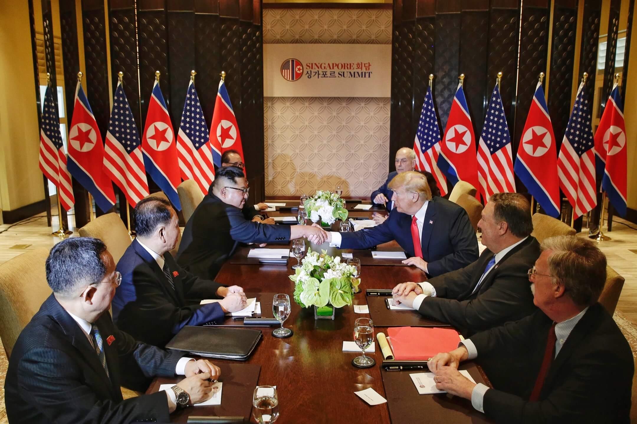 2018年6月12日,北韓領導人金正恩和美國總統特朗普在新加坡舉行會談。 攝:Kevin Lim/Getty Images