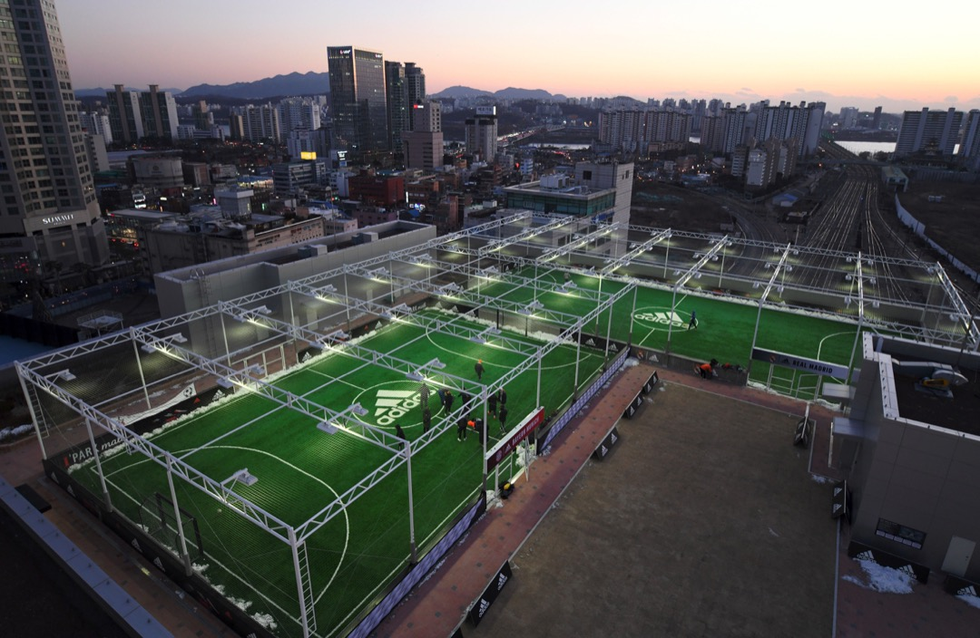 南韓,首爾,商場天台。