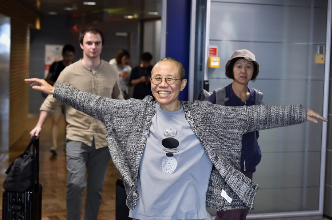 2018年7月10日,劉霞在芬蘭赫爾辛基機場。