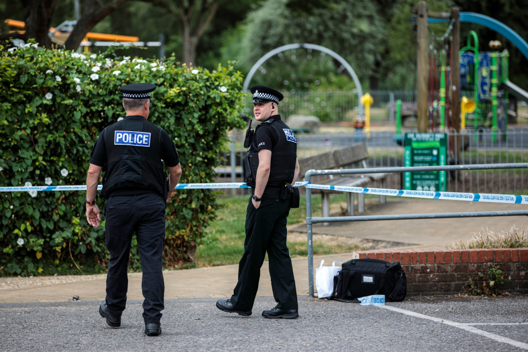 2018年7月4日,英國警方公布,威爾特郡埃姆斯伯里(Amesbury)一對英國公民6月30日在家中被發現接觸毒劑陷入昏迷。現場被警方封鎖。 攝:Jack Taylor/Getty Images