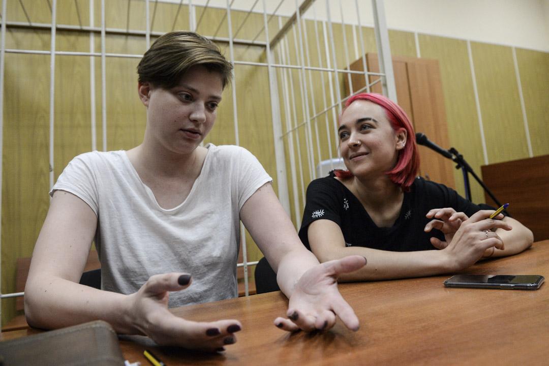 2018年7月17日,俄羅斯莫斯科,Pussy Riot成員因在世界盃決賽中衝進賽場被判監禁15天。