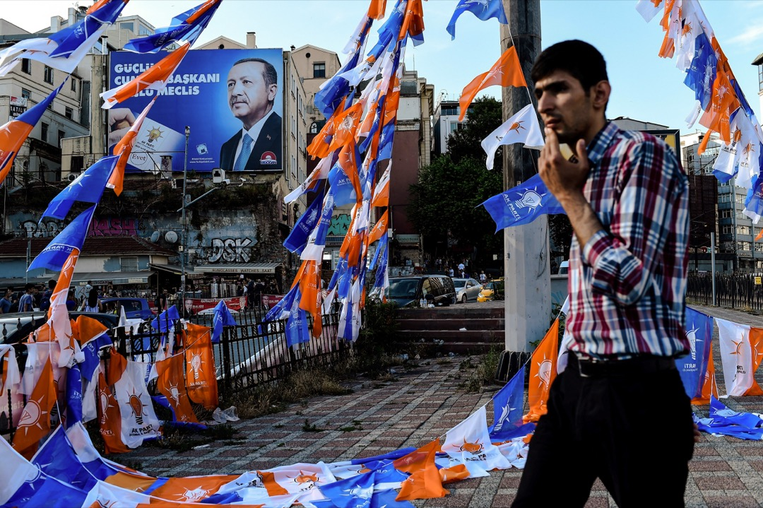 6月24日,埃爾多安在土耳其大選中獲得52.5%的選票勝出,成功爭取連任。 攝:Yasin Akgul/AFP/Getty Images