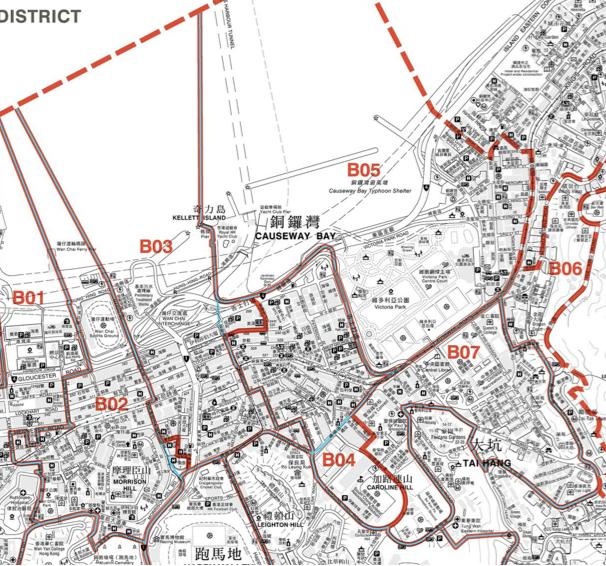 圖:2019年灣仔區部分暫定選區界線地圖(註:B02為愛群,B03為鵝頸,B04為銅鑼灣,B07為大坑;藍色線為2015年區議會選區界線,紅色線為2019年區議會暫定選區界線)