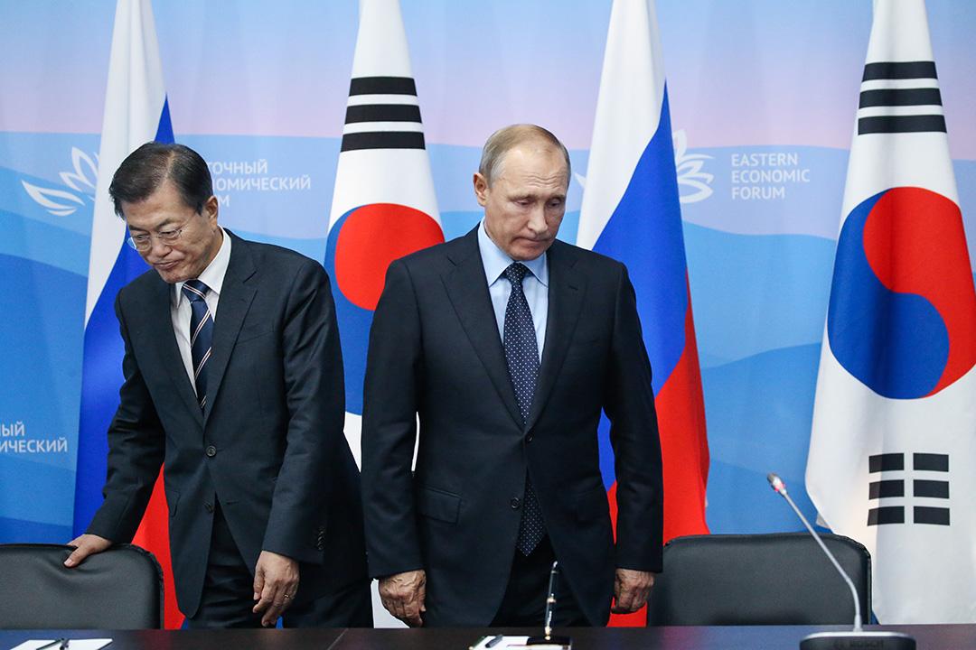 俄國在海參崴(Vladivostok)舉辦第三屆東方經濟論壇(eastern economic forum)。文在寅也應邀出席並發表演講,其中便提到所謂的九橋戰略。 攝: Mikhail Svetlov/Getty Images