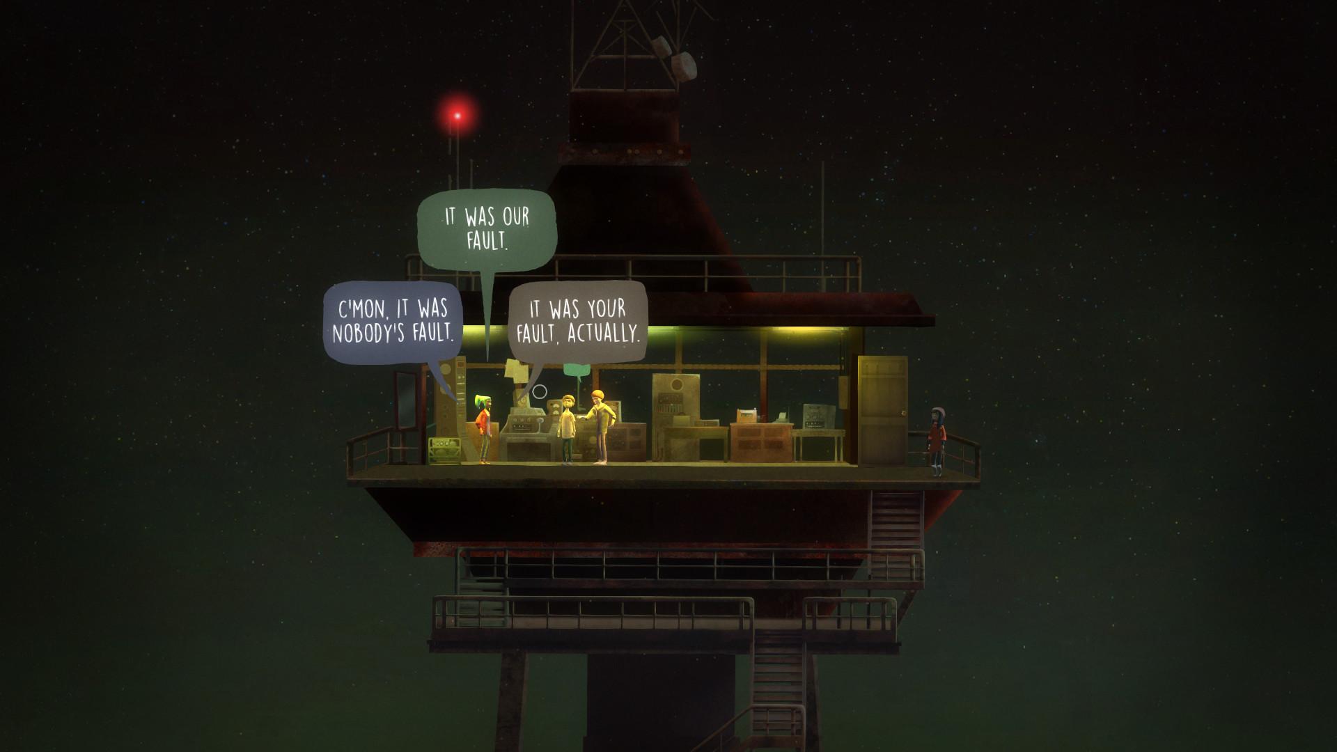 Oxenfree 的對話是去文字的,也是即時的。除非在遊戲設定裏專門選擇,人物對話由聲優全程配音,並不出現字幕。