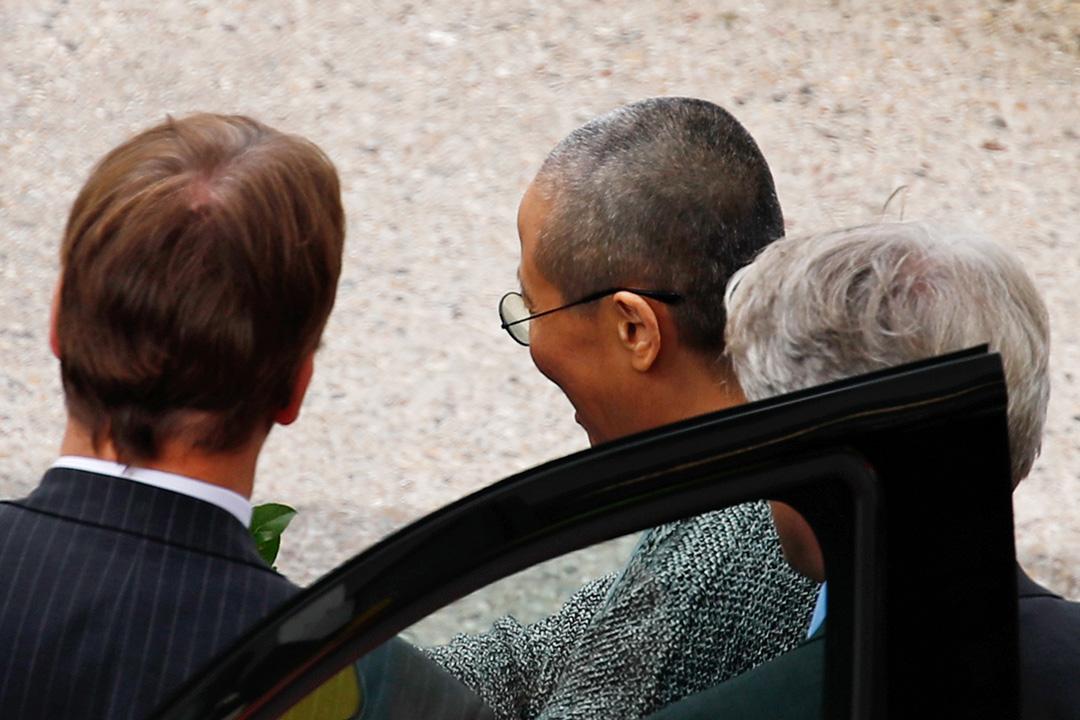 諾貝爾和平獎得主劉曉波的遺孀劉霞於當地時間7月10日下午抵達德國柏林泰格爾機場。 攝:Axel Schmidt / AFP