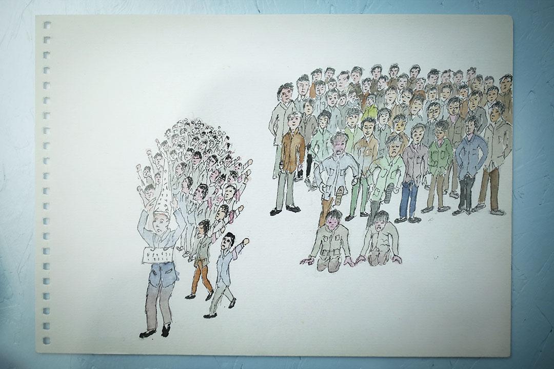 圖為焦金安作品。焦金安,1962年出生,河南人,年輕時曾在山西挖煤、在新疆摘棉花、在上海做養老院護工,63歲以後失業,回老家種地,開始畫畫,描繪一生的經歷。