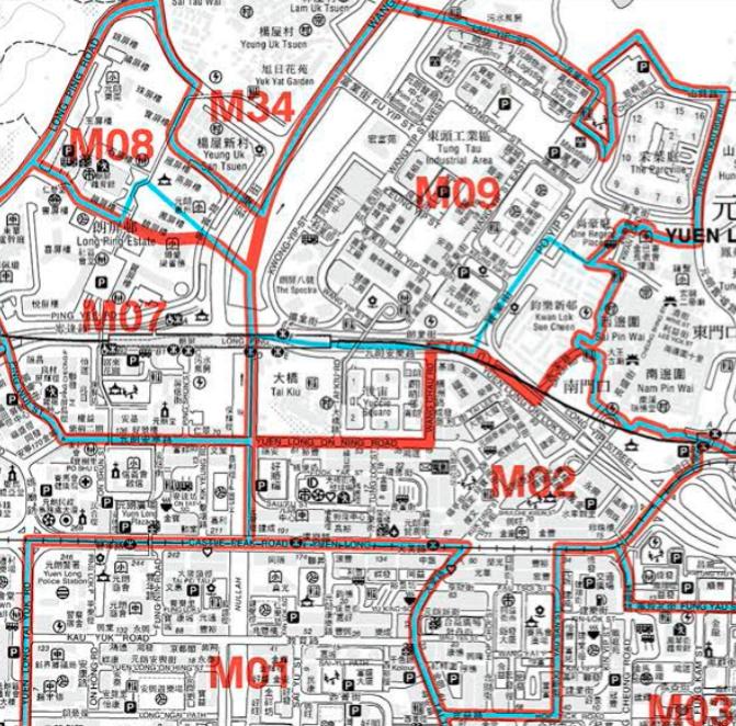 2019年元朗區部分暫定選區界線地圖(註:M02為元朗中心,M08為北朗,M09為元朗東頭;藍色線為2015年區議會選區界線,紅色線為2019年區議會暫定選區界線)