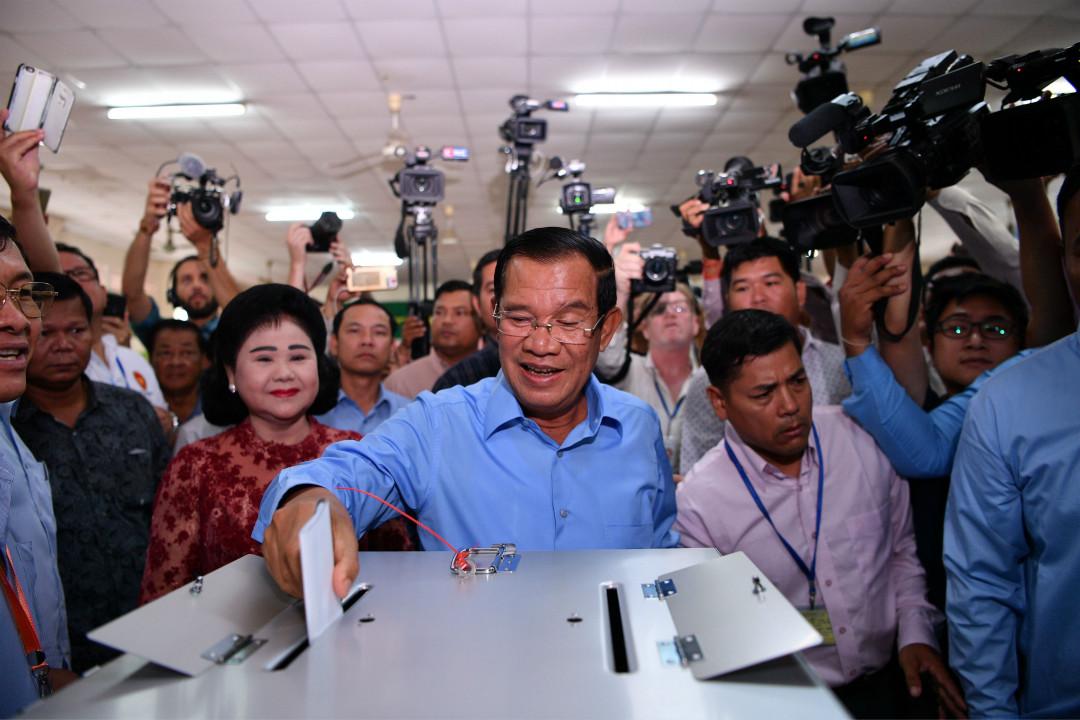 2018年7月29日,柬埔寨大選,首相洪森在該國反對派去年已被解散後無懸念勝選。 攝:Manan Vatsyayana/Getty Images