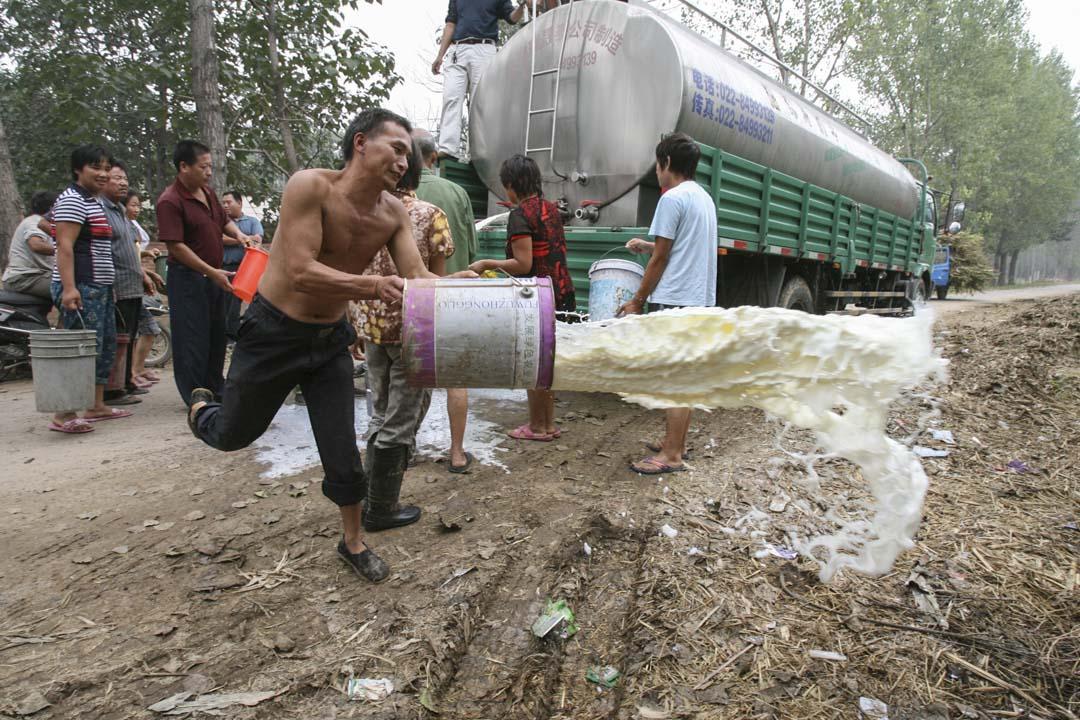 2008年9月,「三鹿毒奶粉事件」後,河南奶農們受到重大打擊。