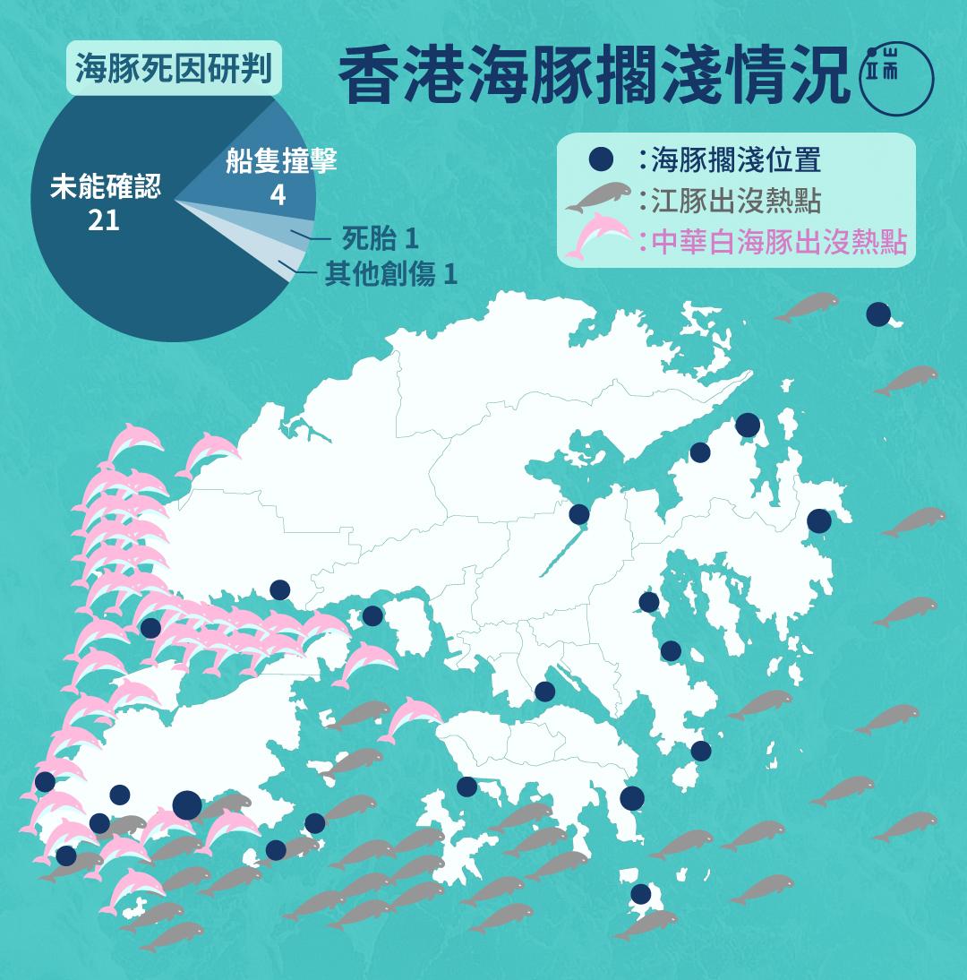 今年首五個月已經發現27條海豚擱淺,當中近八成都未能確定死因,資料源自香港海洋公園保育基金。