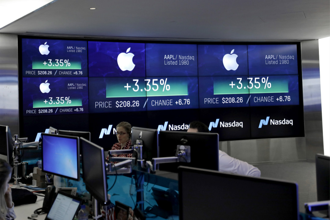 2018年8月2日,蘋果公司盤中市值破萬億美元。 攝:Peter Foley/Getty Images