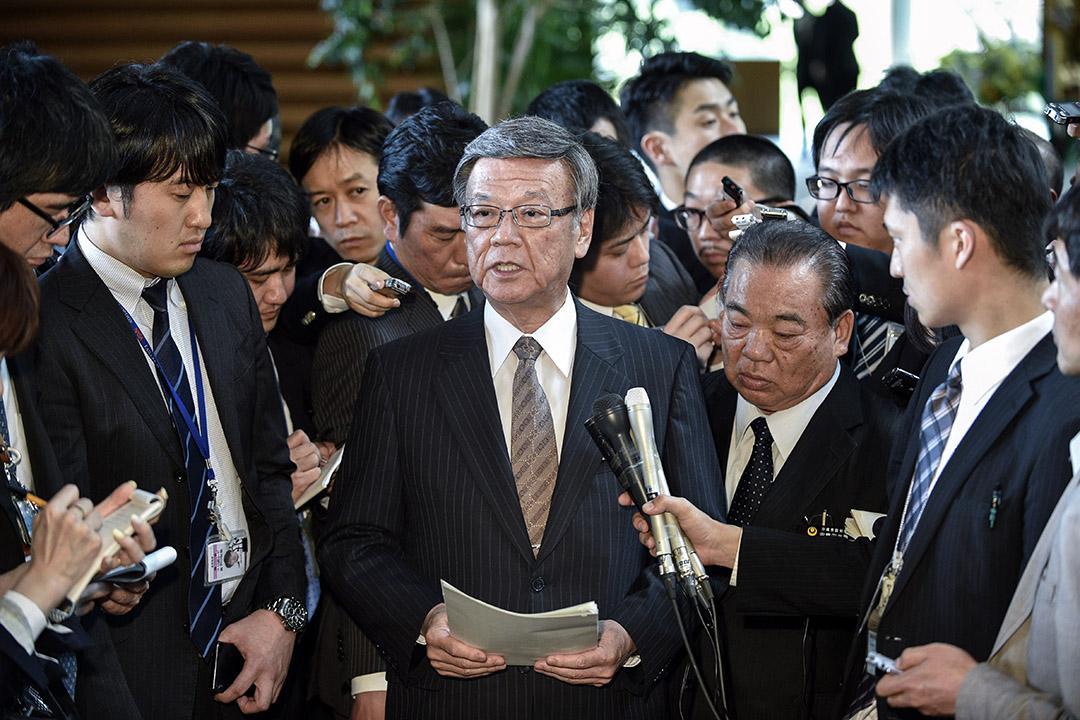 沖繩縣知事翁長雄志於2018年8月8日去世,享年67歲。 攝:Franck Robichon/AFP via Getty Images