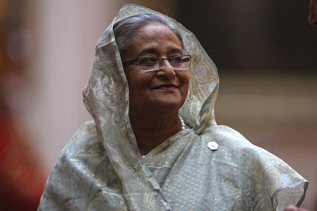 哈西娜政府近年顯露出的威權面孔,在應對這次運動時,沒有絲毫猶豫。圖為2018年4月19日,孟加拉國總理哈西娜(Sheikh Hasina)在英國倫敦出席活動。