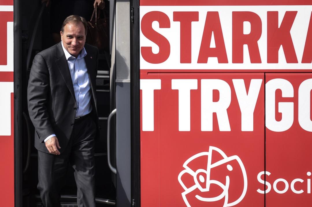 瑞典社民黨黨魁,現任首相勒夫文出席選舉活動。