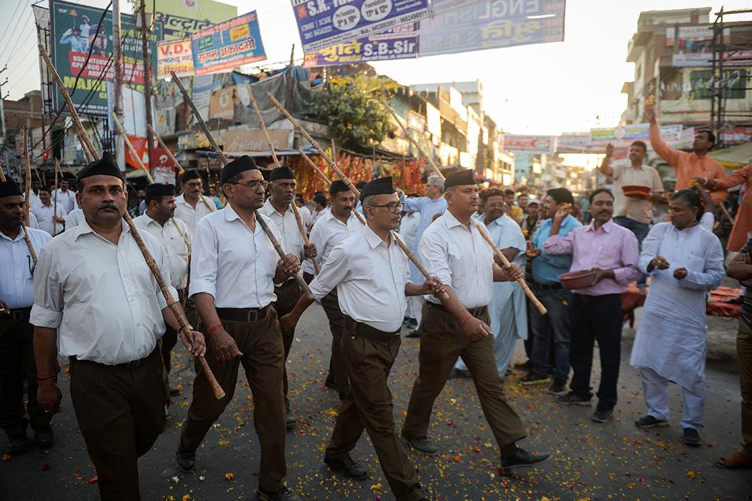 在377條被最高法院揉成廢紙之後,最超乎常規的表態,來自於印度教極右翼團體「國民志願服務團」(Rashtriya Swayamsevak Sangh)。圖為「國民志願服務團」。