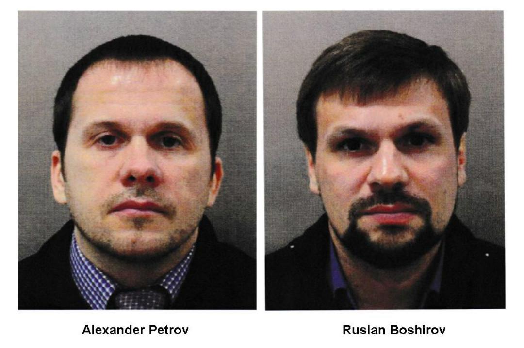 2018年9月5日,英國媒體公布兩名俄籍嫌犯彼得羅夫(Alexander Petrov)和博什羅夫(Ruslan Boshirov)的照片。