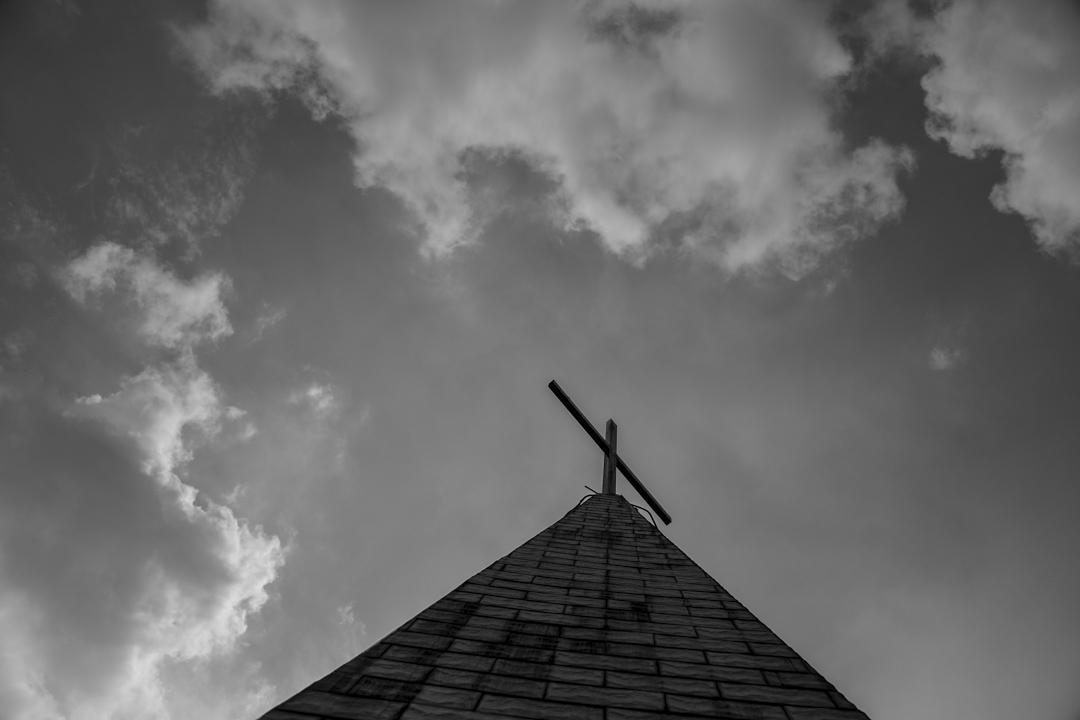 2018年8月13日,中國河南省一座屬於愛國會的天主教大教堂上的十字架。