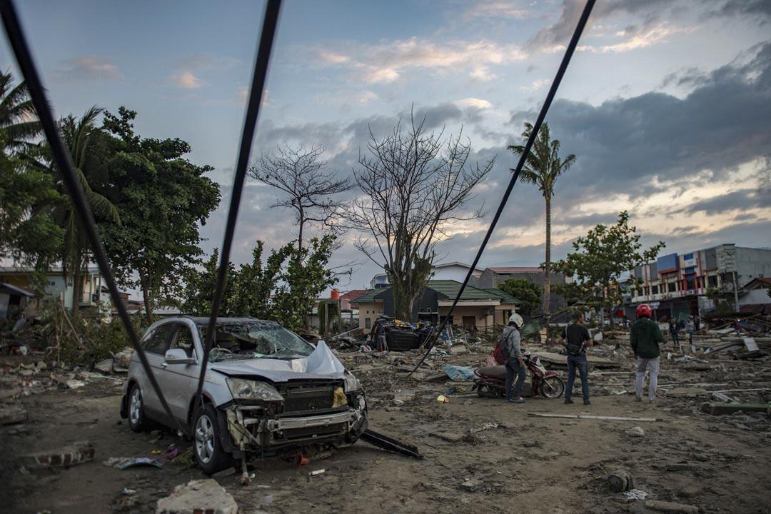 2018年9月29日,海嘯過後,印尼蘇拉威西島觀光勝地帕盧滿目瘡痍。