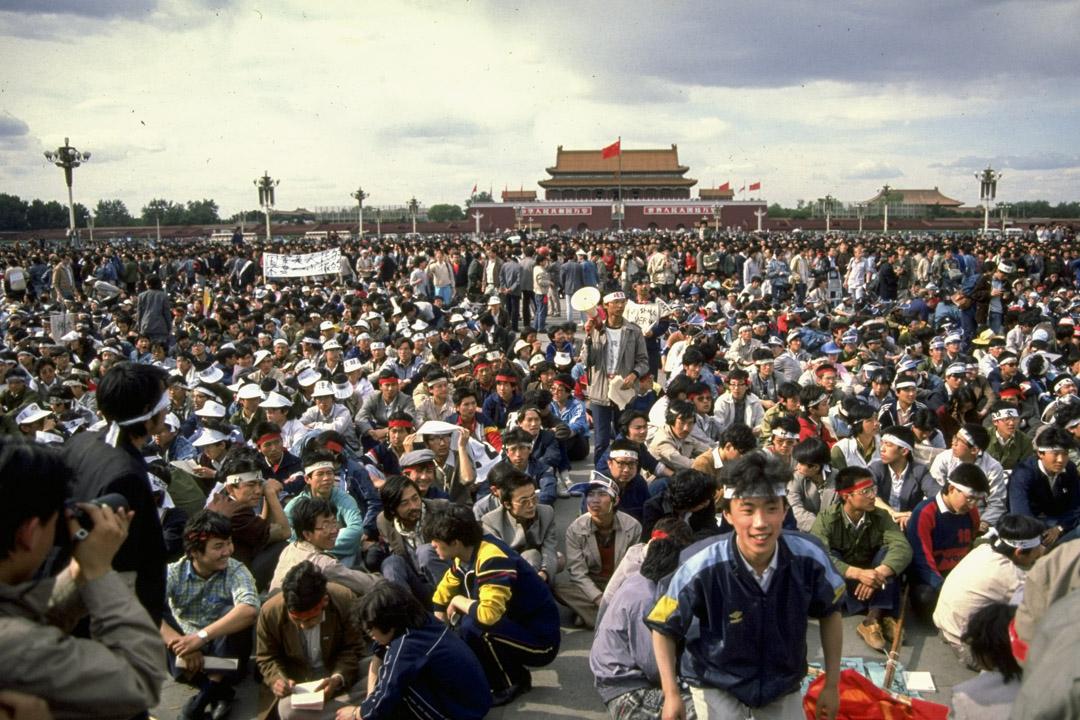 1989年5月14日,天安門學生運動。