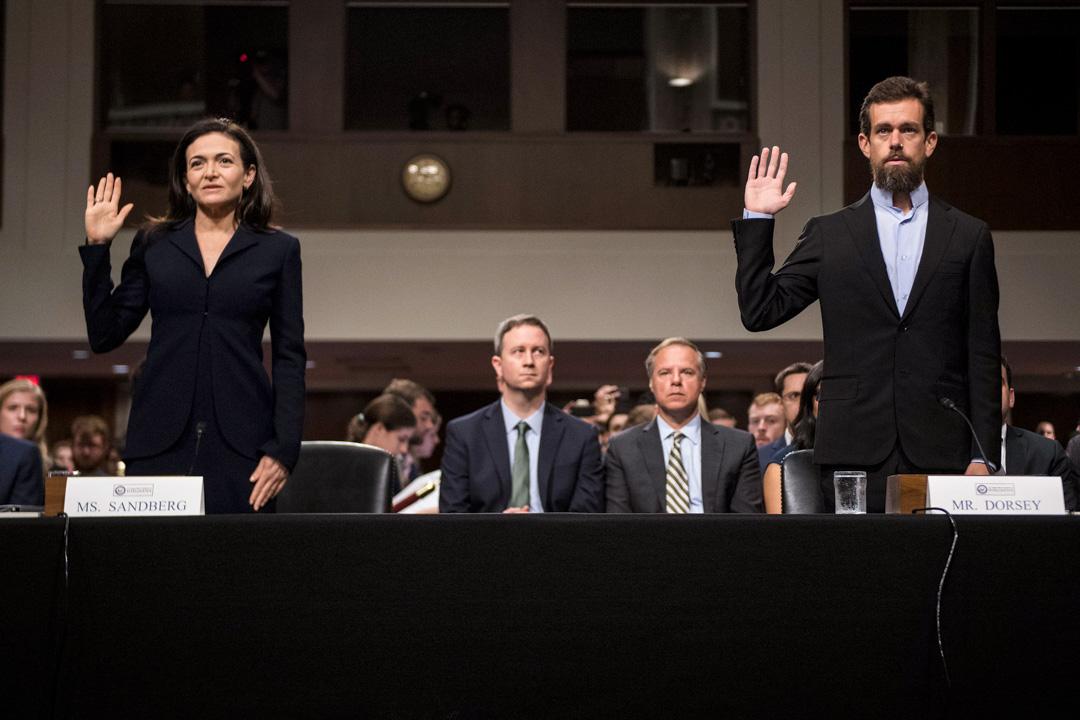 2018年9月5日,Facebook的首席運營官謝麗爾·桑德伯格(Sheryl Sandberg)和Twitter的首席執行官傑克·多西(Jack Dorsey)出席參議院情報委員會的聽證會,回答「外國勢力利用科技平台干擾美國選舉」等問題。