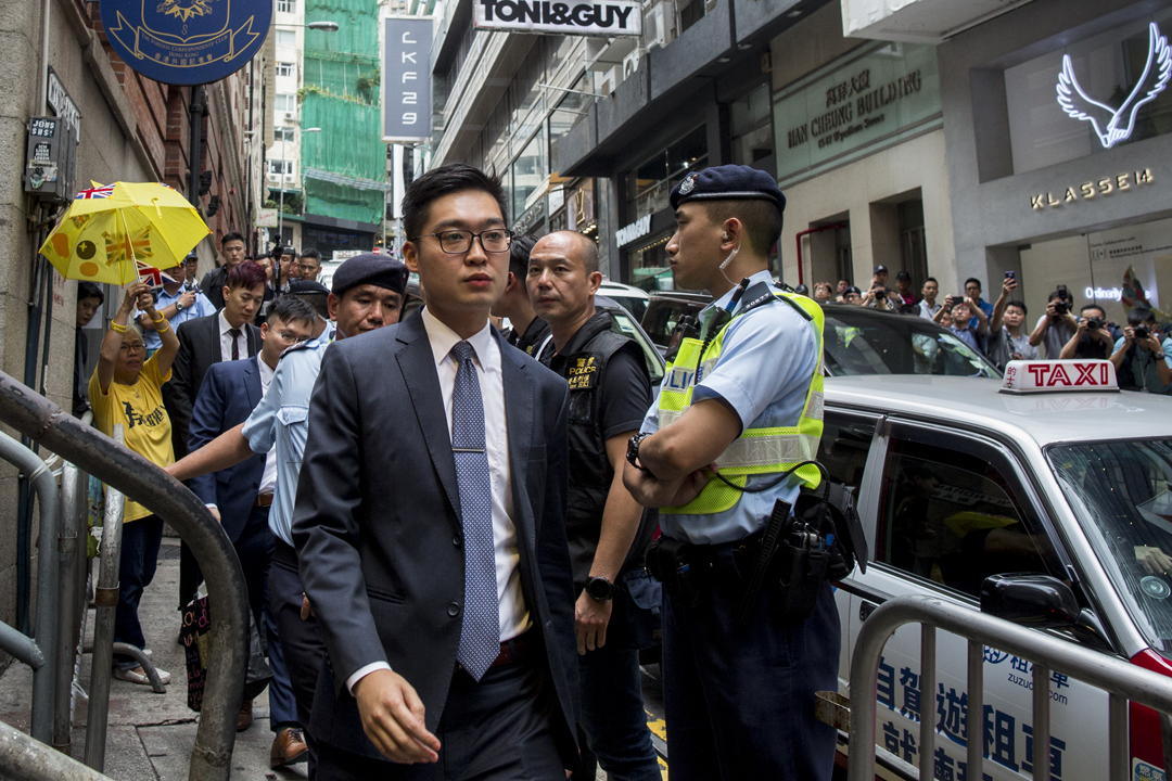 2018年8月14日,「香港民族黨」召集人陳浩天應邀到香港外國記者會(FCC)會址發表演講。  攝:林振東 / 端傳媒