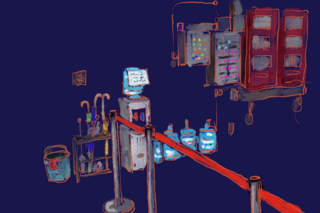 自從「港鐵蘇民峰」來了之後,控制室的水機成為了有階級的水機,一部禁止清潔工友使用的水機。 圖:Tsengly / 端傳媒