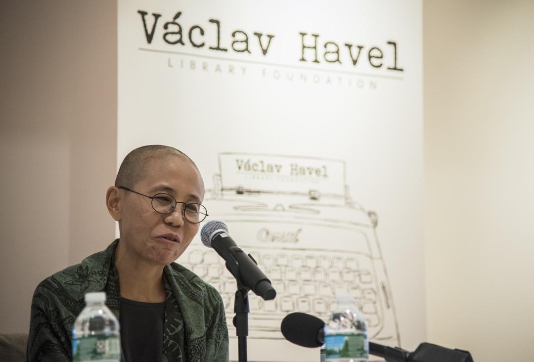 2018年9月26日,劉曉波遺孀劉霞在美國紐約出席一場座談會。這是她七月離開中國後首次在公開場合露面及發言。 攝:Melody Wong/端傳媒