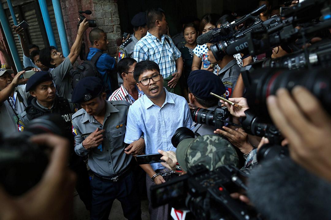 《路透社》二子一案,以及去年政府沒有好好回應國際媒體對羅興亞危機的採訪要求,令昂山素姬和緬甸政府背上「打壓新聞自由」的責任。圖為路透社記者Wa Lone。