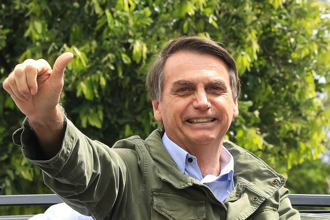 2018年10月28日,巴西極右翼總統候選人博爾索納羅(Jair Bolsonaro)在第二輪投票中獲勝。 攝:Buda Mendes/Getty Images