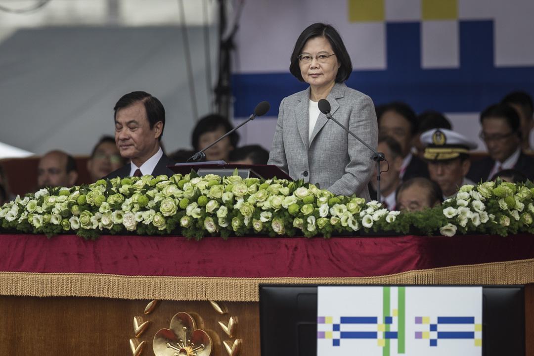 2018年10月10日,中華民國107年國慶大典上,總統蔡英文發表國慶談話。 攝:陳焯煇/端傳媒