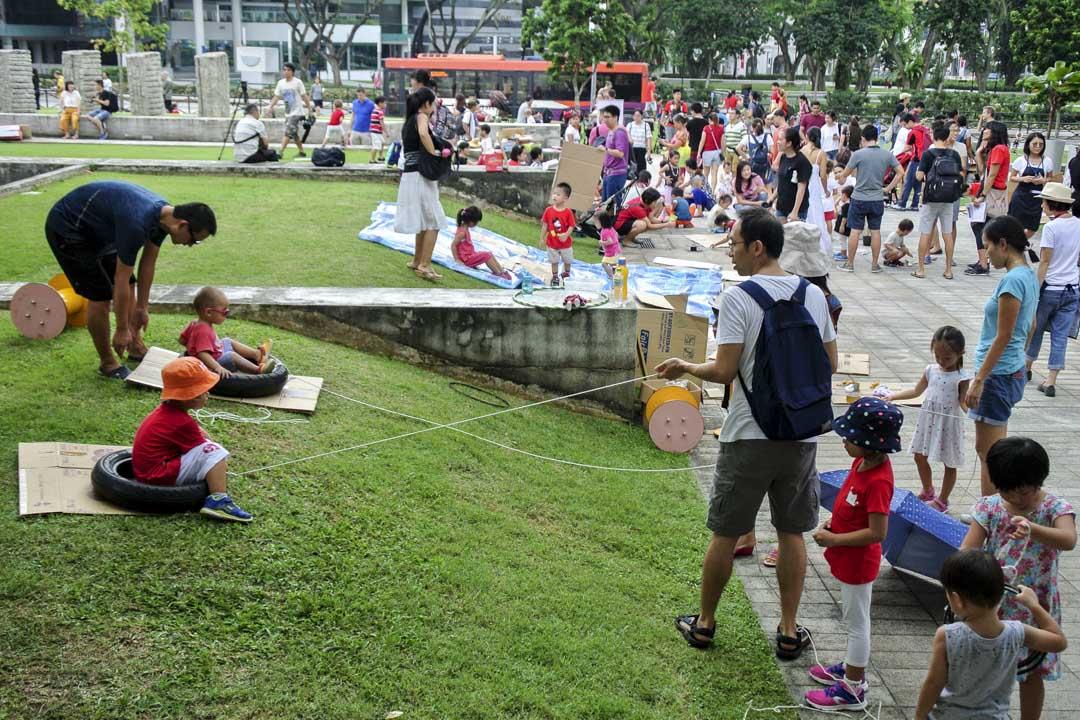 新加坡國家博物館外的快閃冒險遊戲場。
