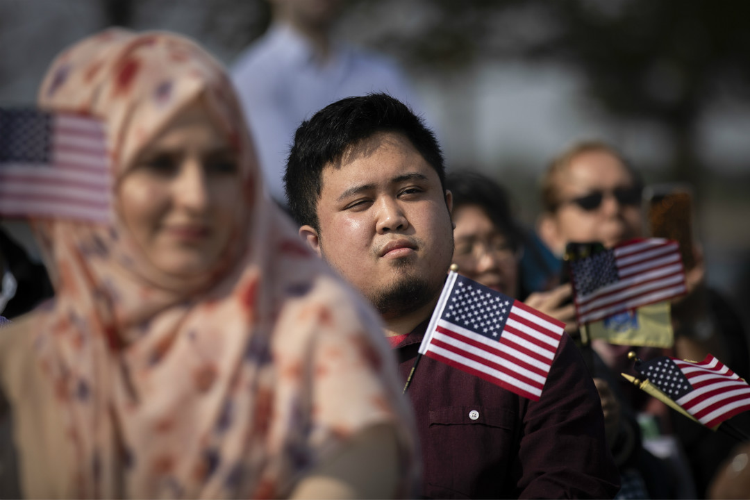 2018年10月2日,美國新澤西州,35名新美國公民參加入籍儀式。 攝:Drew Angerer/Getty Images