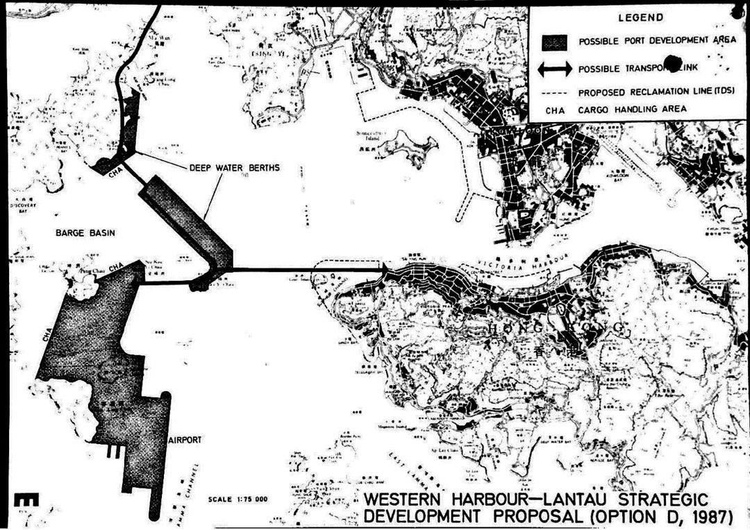 胡應湘於1987年提出的「西部海港——大嶼山戰略發展計劃」。 圖:本土研究社