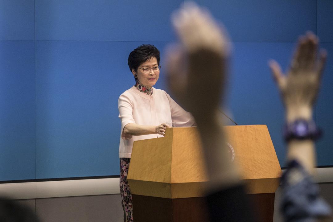 林鄭月娥發表任內第二份《施政報告》,主題為「堅定前行燃點希望」,下午召開記者會,進一步闡述其施政理念。