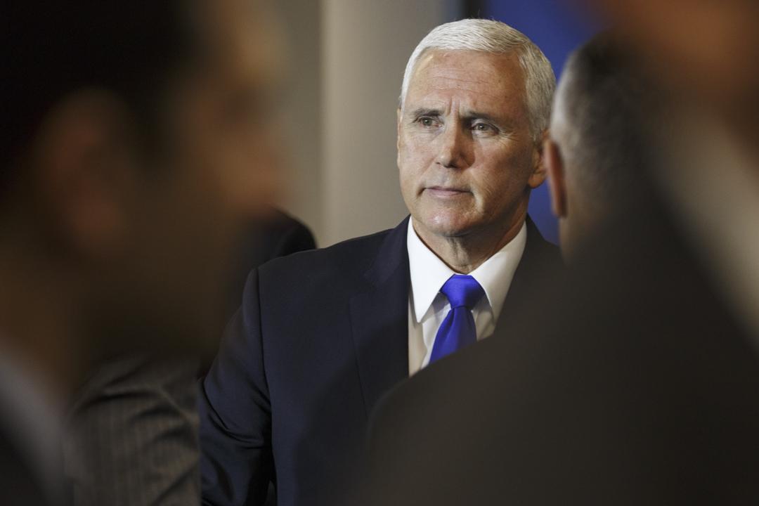 2018年10月4日,美國副總統彭斯(Mike Pence)發表演講,批判中國軍事、外交等多項政策。 攝:Joshua Roberts/Bloomberg via Getty Images