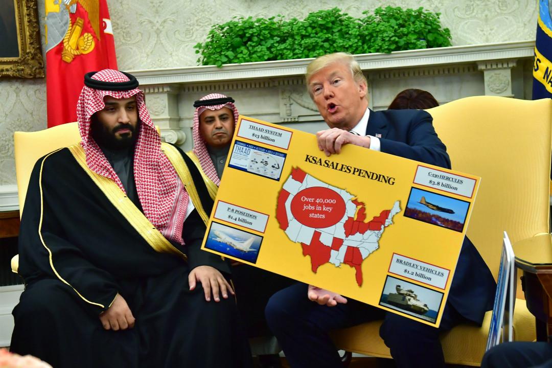 2018年3月20日,華盛頓,美國總統特朗普在白宮會晤沙特王儲穆罕默德-本-薩勒曼。   攝:Imagine China