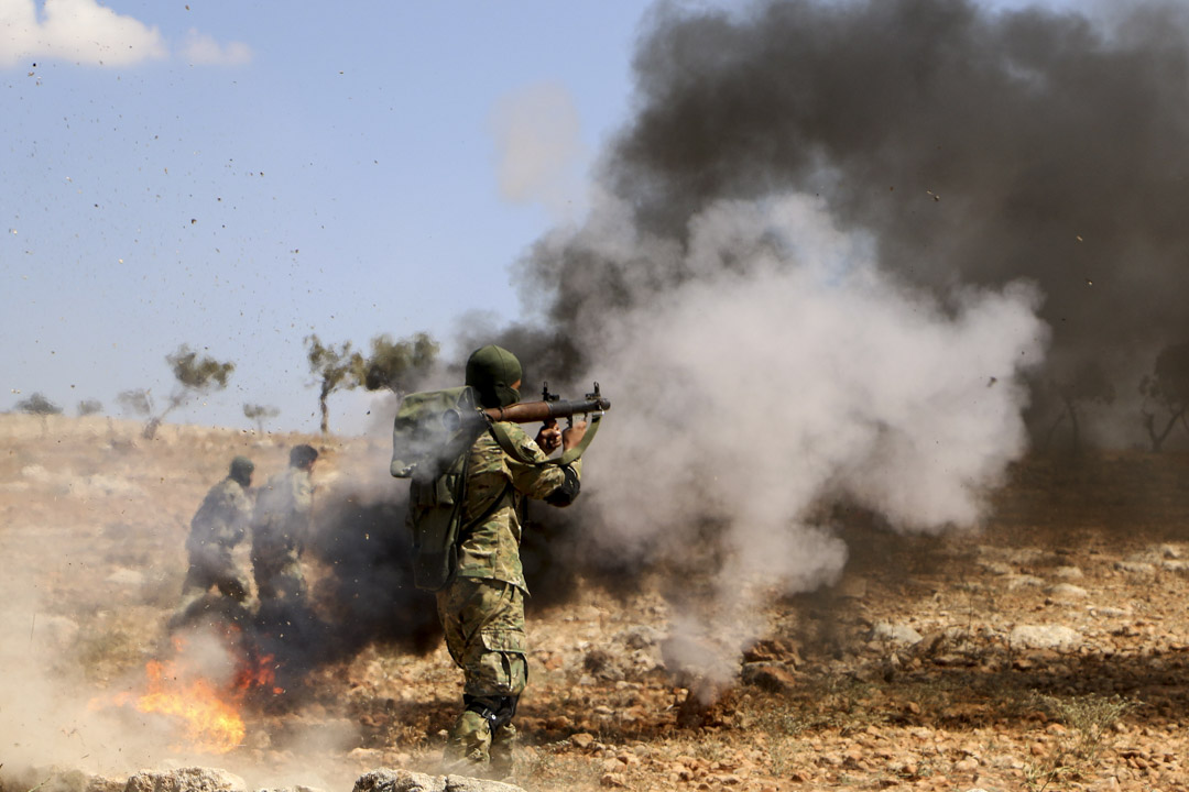 2018年9月11日,伊德利卜省北部農村一個武裝組織進行戰鬥訓練,預備敘利亞政府軍的進攻。