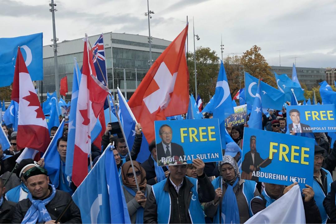 11月6日,瑞士日內瓦,在聯合國人權理事會對中國進行普遍定期審議期間,來自歐洲各國的約1500名維吾爾人和藏人參加示威遊行。 攝:Bayram Altug/Getty Images